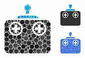 Remote Control Device Composition Of Round Dots In Variable Sizes And Shades, Based On Remote Contro poster