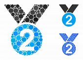 Silver Medal Mosaic Of Round Dots In Different Sizes And Color Hues, Based On Silver Medal Icon. Vec poster
