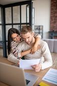 Wife Hugging Husband Having Some Difficulties With Business poster