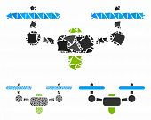 Air Drone Mosaic Of Inequal Pieces In Variable Sizes And Color Tints, Based On Air Drone Icon. Vecto poster