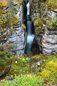 Maligne Canyon Waterfall In Canada