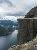 Profile View Of Famous Preikestolen Massive Cliff At Fjord Lysefjord, Famous Norway Viewpoint With G poster