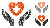 Cardiology Care Hands Mosaic Of Irregular Parts In Various Sizes And Color Tinges, Based On Cardiolo poster