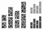 Bar Charts Mosaic Of Humpy Elements In Variable Sizes And Shades, Based On Bar Charts Icon. Vector T poster