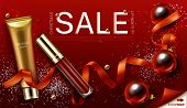 Cosmetics Christmas Sale Banner. Lip Gloss And Foundation Makeup Gifts, Liquid Lipstick Make Up Beau poster