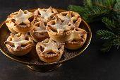 British Christmas Mince Pies On Dark Background. poster