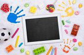 Happy Childrens Day Background With Toys, Pencils And Colorful Kids Hand Prints poster