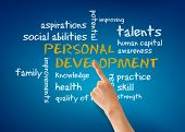 foto of self assessment  - Hand pointing at a Personal Development word illustration on blue background - JPG