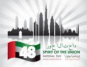 United Arab Emirates National Day Celebration Card. The Script Means United Arab Emirates National D poster