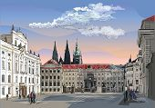 Colorful Vector Hand Drawing Illustration Of Hradcany Square. The Central Gate Of The Hradcany Castl poster