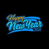 Save Download Preview Happy New Year Design 2020. An Elegant Blue Card With A Black Background. New  poster