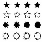Stars Sparkles Sign Symbol Set. Cute Shape Collection. Simple Pictograms Pack. Different Stars Black poster