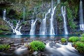 Panoramic view of waterfall on river Langevin in tropical jungle, Reunion Island.
