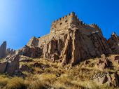 Bottom View Of The Rocky Cliffs At The Bottom Of The Tower Of Ankara Castle (turkey). The Walls Of A poster