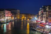 Beautiful scenery of the grand Canal in Venice at night, Italy poster