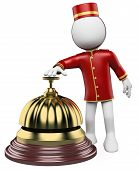stock photo of porter  - 3d white bellhop ringing a hotel reception bell - JPG