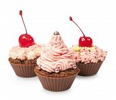 Cupcakes With Pink Cream And Cherry