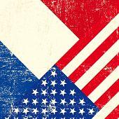 EUA e francês grunge bandeira.