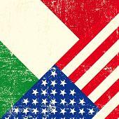 EUA e italiano grunge bandeira