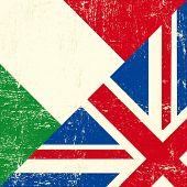 Bandeira de grunge UK e italiano