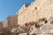 Wall of Jerusalem Old City near the Dung gate