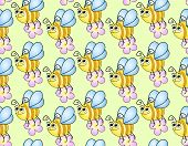 seamless children's background with funny bees