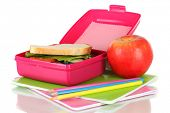 Lunch box with sandwich,apple and stationery isolated on white
