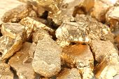 Golden nuggets close-up
