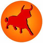 Rote Toro auf Farbverlauf Kreis