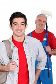 stock photo of school-leaver  - Portrait of an apprentice posing with his new boss - JPG