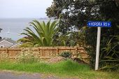 Blue Road Sign Sea View