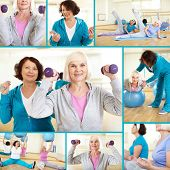 image of physical exercise  - Collage of sporty females doing physical exercises in sport gym - JPG