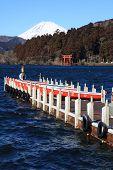 Boat at Lake Ashi and Mt. Fuji in background