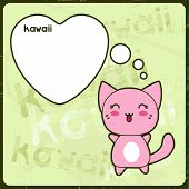 Kawaii card with cute cat on the grunge background.