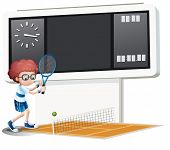 Illustration of a boy playing tennis on a white background
