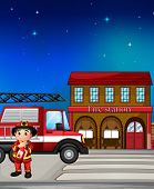 Illustration of a fireman near the fire station