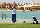 Golfer auf der driving range