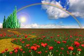 picture of emerald  - An emerald city across a field of poppies with a rainbow across the horizon - JPG