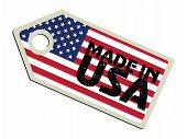 label with flag of USA