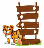 Illustration of a tiger at the back of a signboard on a white background