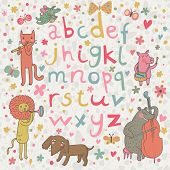 Cartoon kindisch Alphabet mit Tieren in der lustigen Art. Lustige Karikatur Illustration Vektor mit allen