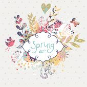 Spring floral design element. Birds, flowers and butterflies in cute floral background in vector. Ro