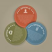 Color Papers Circles With 3 Steps, Vector Infographics