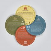 Color Papers Circles With 4 Options, Business Infographics