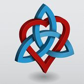 stock photo of cult  - Illustration of a Celtic knot triquetra with heart symbol of power and love - JPG