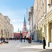 Red Square And Nikolskaya Street In Moscow