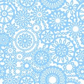 Abstract geometric filigree doilies seamless pattern in blue and white, vector