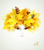 Beautiful  women  in autumn circlet of leaves