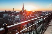Early Morning With Rising Sun Light In Old Town Of Tallinn, Estonia