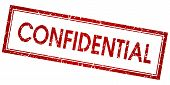 Confidential Red Square Vector Stamp